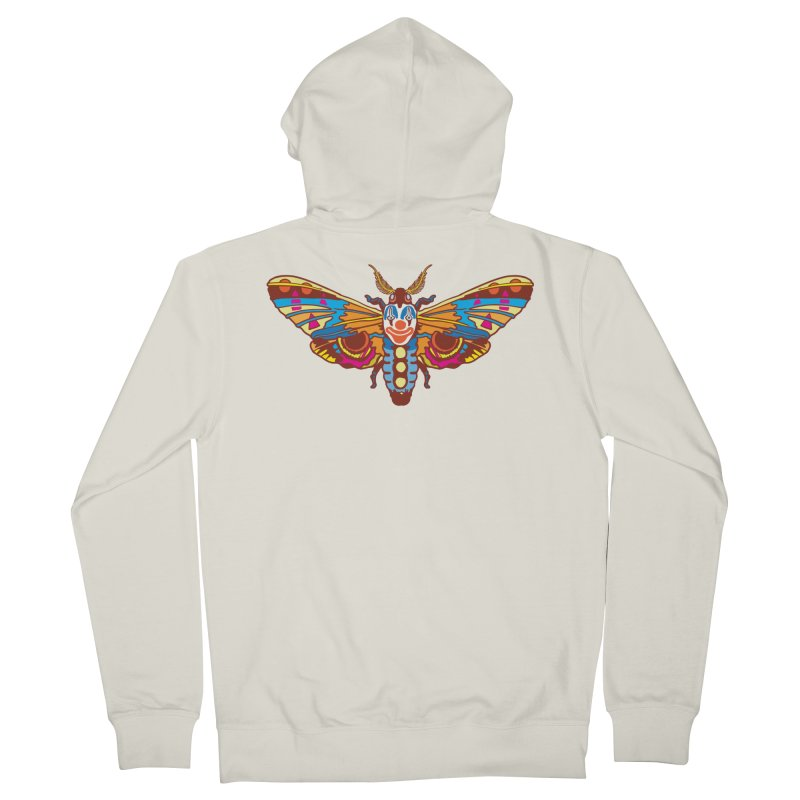 Clown Moth Women's French Terry Zip-Up Hoody by My Metal Hand Artist Shop