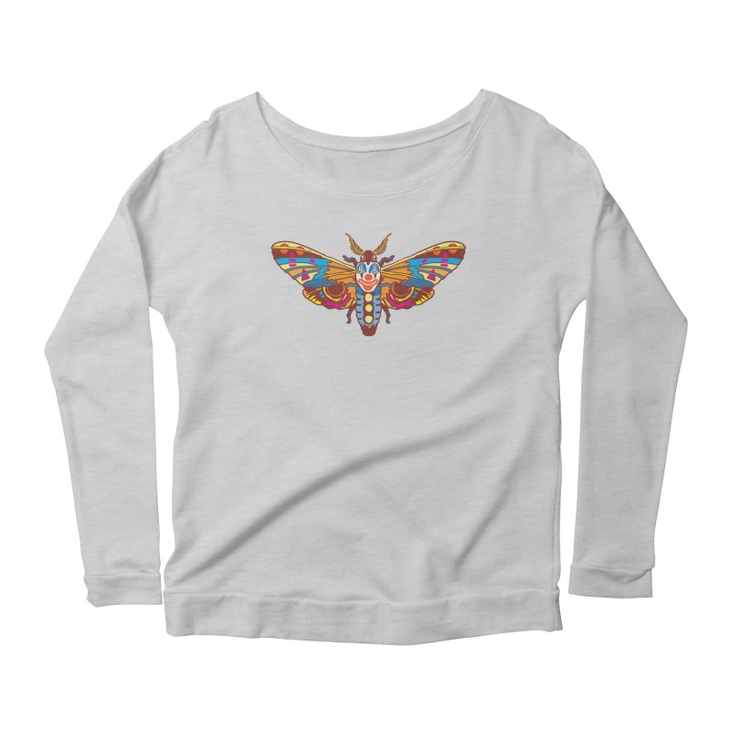 Clown Moth Women's Scoop Neck Longsleeve T-Shirt by My Metal Hand Artist Shop
