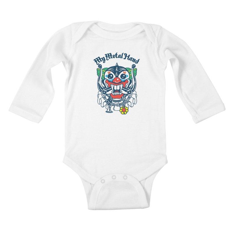 Clownish Head MMH Kids Baby Longsleeve Bodysuit by My Metal Hand Artist Shop
