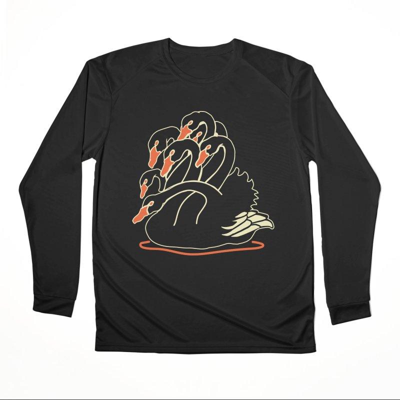 Seven Headed Black Swan Men's Performance Longsleeve T-Shirt by My Metal Hand Artist Shop