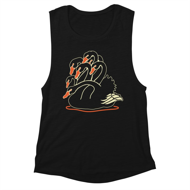 Seven Headed Black Swan Women's Muscle Tank by My Metal Hand Artist Shop