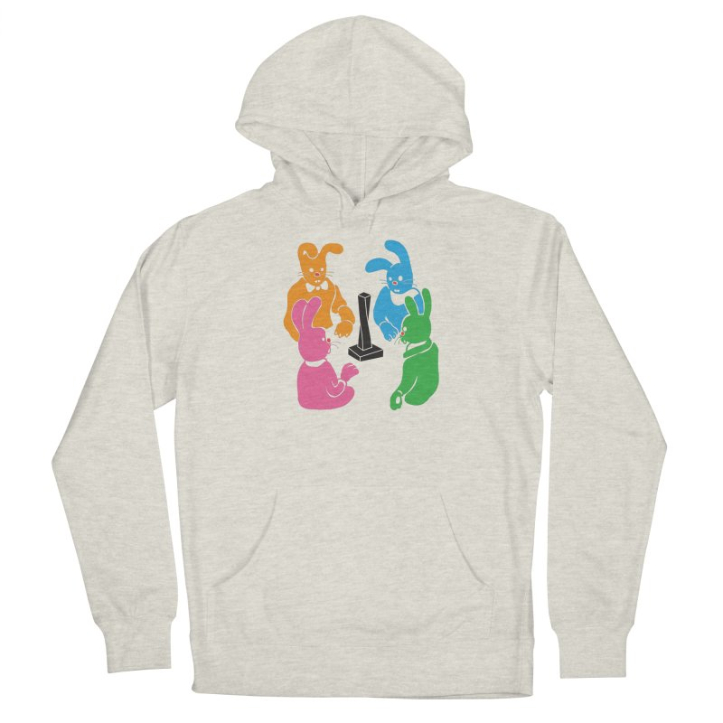 Bunny Presents Men's French Terry Pullover Hoody by My Metal Hand Artist Shop