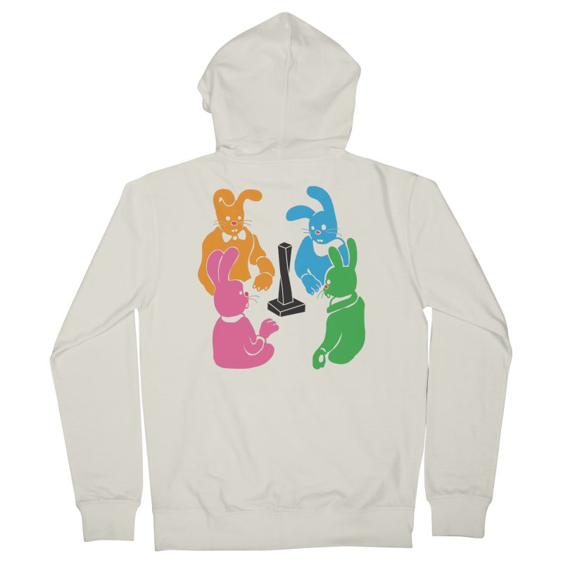 Bunny Presents Men's French Terry Zip-Up Hoody by My Metal Hand Artist Shop