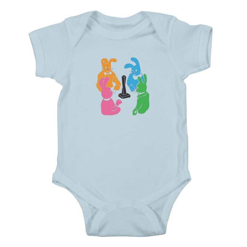 Bunny Presents Kids Baby Bodysuit by My Metal Hand Artist Shop