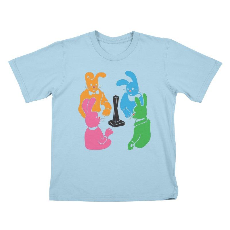 Bunny Presents Kids T-Shirt by My Metal Hand Artist Shop