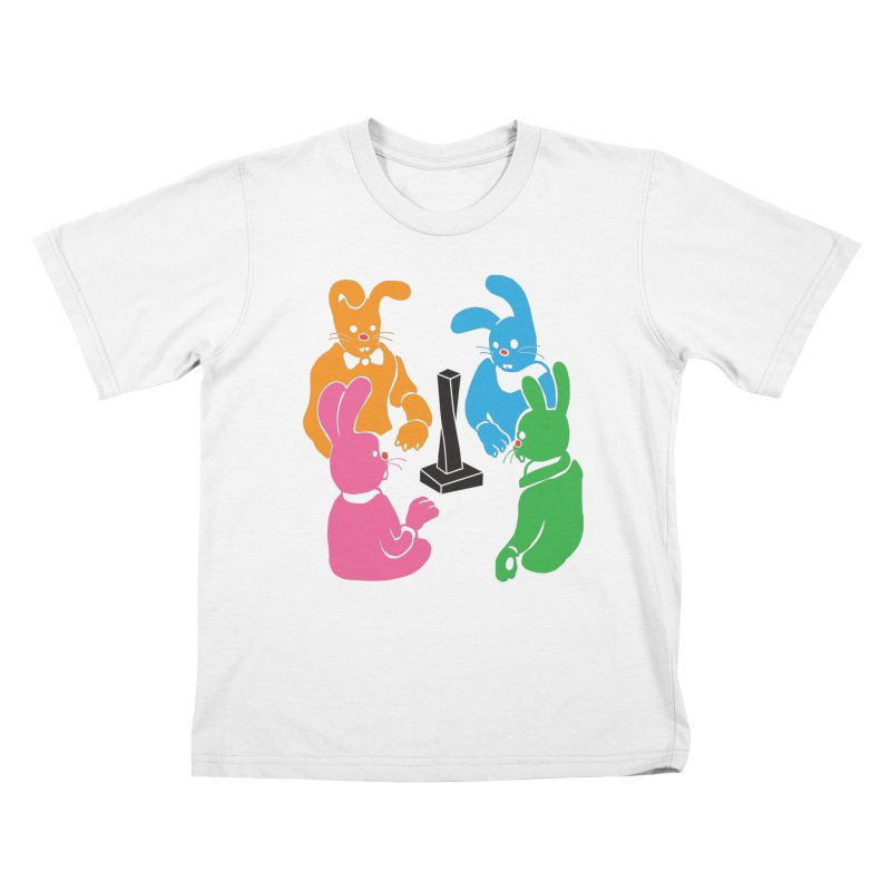 Bunny Presents Kids T-Shirt by My Metal Hand Artist Shop