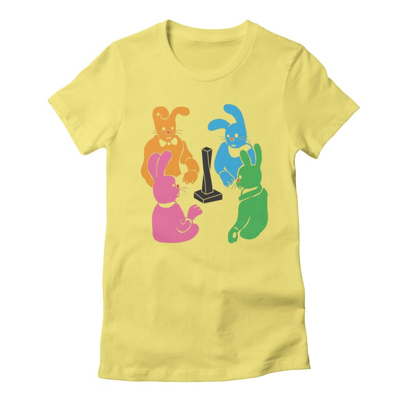 Bunny Presents Women's Fitted T-Shirt by My Metal Hand Artist Shop