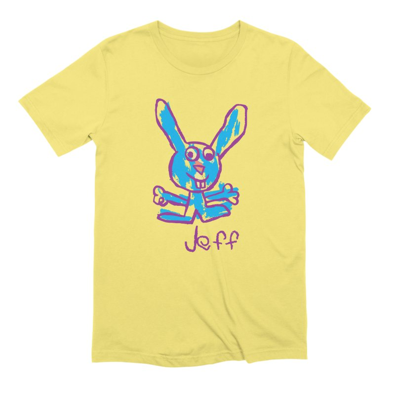 Jeff's Rabbit Drawing Men's Extra Soft T-Shirt by My Metal Hand Artist Shop