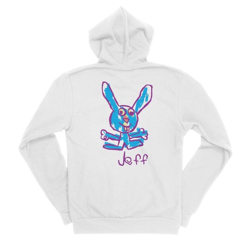 Jeff's Rabbit Drawing Women's Sponge Fleece Zip-Up Hoody by My Metal Hand Artist Shop