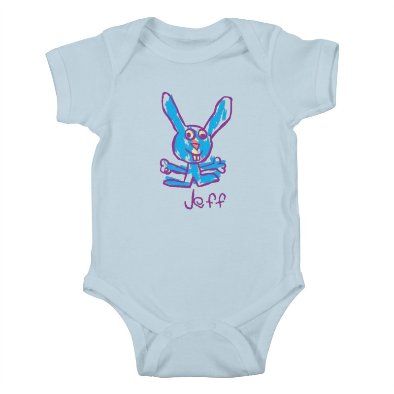 Jeff's Rabbit Drawing Kids Baby Bodysuit by My Metal Hand Artist Shop