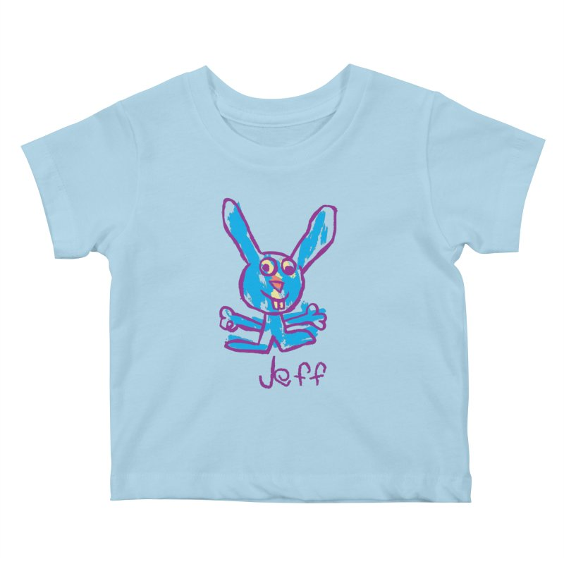 Jeff's Rabbit Drawing Kids Baby T-Shirt by My Metal Hand Artist Shop