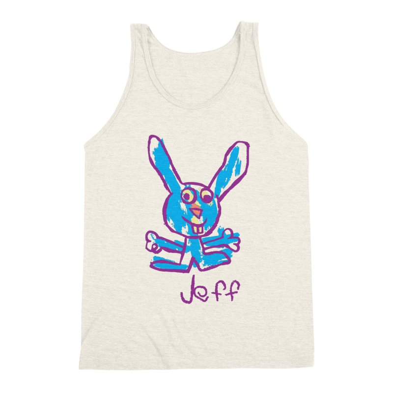 Jeff's Rabbit Drawing Men's Triblend Tank by My Metal Hand Artist Shop
