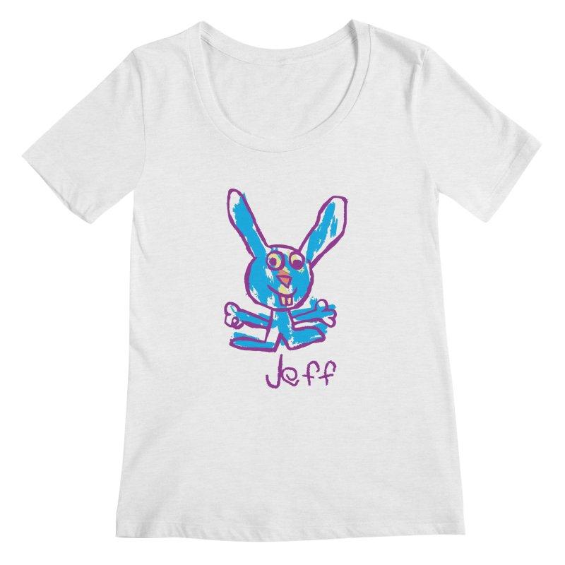 Jeff's Rabbit Drawing Women's Regular Scoop Neck by My Metal Hand Artist Shop