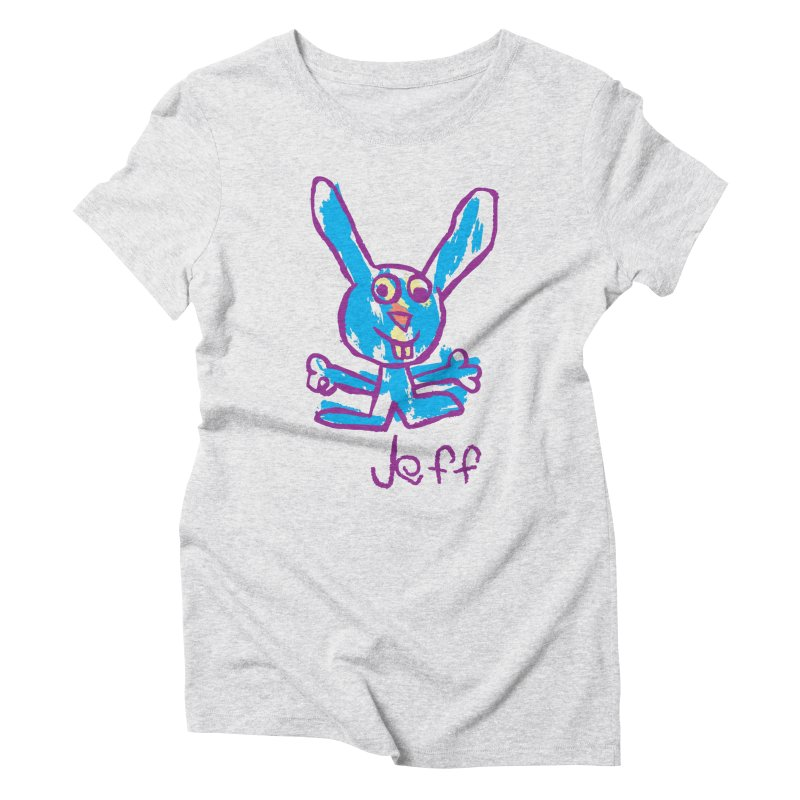 Jeff's Rabbit Drawing Women's Triblend T-Shirt by My Metal Hand Artist Shop