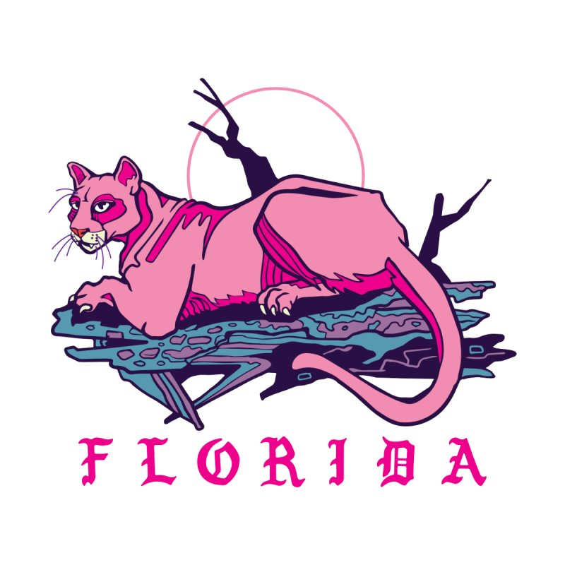 Pink Florida Panther Men's Zip-Up Hoody by My Metal Hand Artist Shop