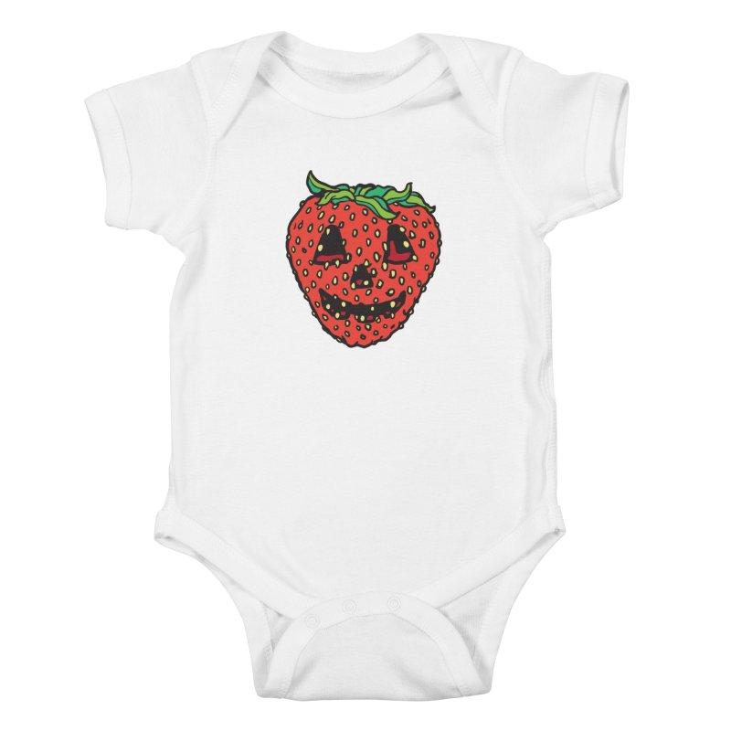 Strawberry Jack O Lantern Kids Baby Bodysuit by My Metal Hand Artist Shop