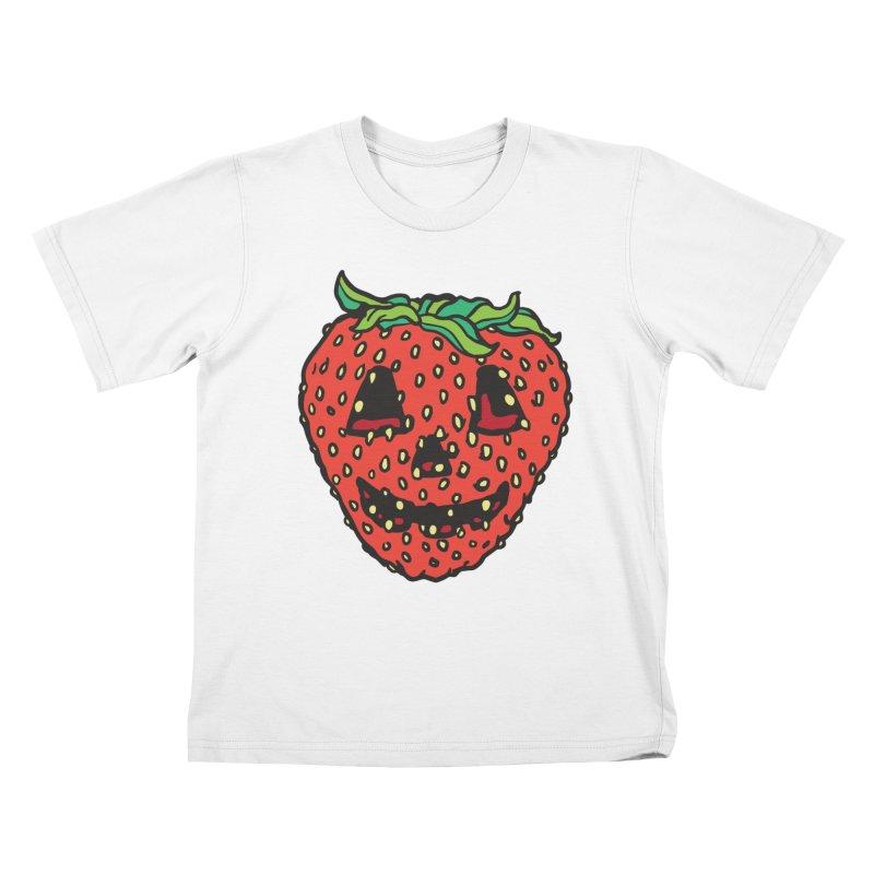 Strawberry Jack O Lantern Kids T-Shirt by My Metal Hand Artist Shop