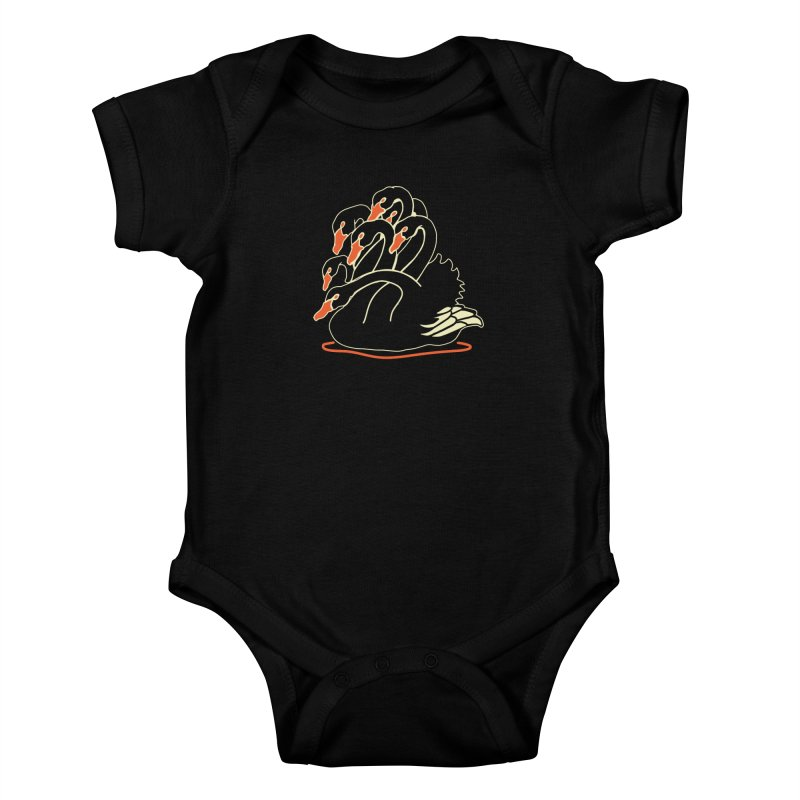 Seven Headed Swan Kids Baby Bodysuit by My Metal Hand Artist Shop