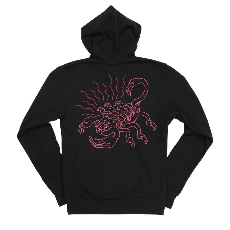 Flamingo Scorpio Women's Zip-Up Hoody by My Metal Hand Artist Shop