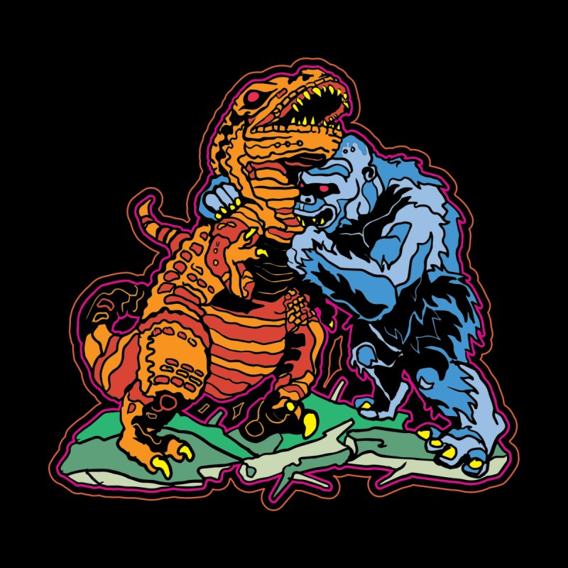 Dino Vs Gorilla Men's T-Shirt by My Metal Hand Artist Shop