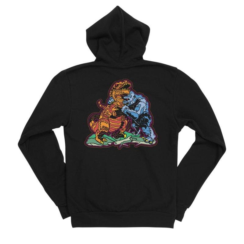 Dino Vs Gorilla Women's Zip-Up Hoody by My Metal Hand Artist Shop