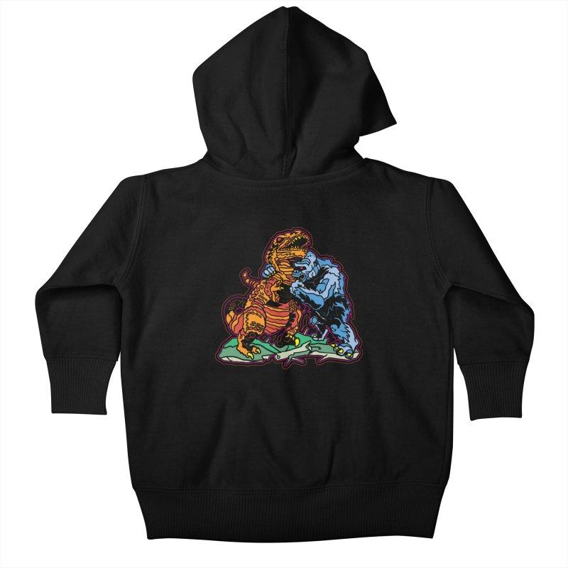 Dino Vs Gorilla Kids Baby Zip-Up Hoody by My Metal Hand Artist Shop