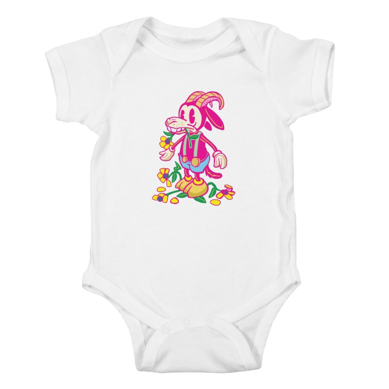Goat and Flowers Kids Baby Bodysuit by My Metal Hand Artist Shop