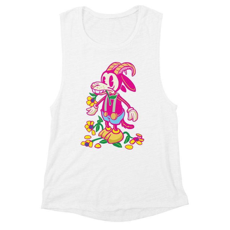 Goat and Flowers Women's Muscle Tank by My Metal Hand Artist Shop