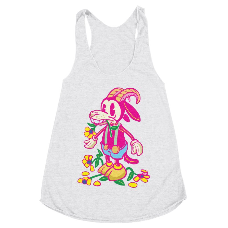 Goat and Flowers Women's Racerback Triblend Tank by My Metal Hand Artist Shop