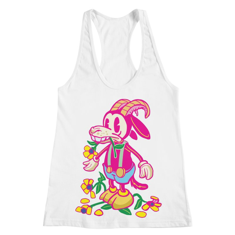 Goat and Flowers Women's Racerback Tank by My Metal Hand Artist Shop