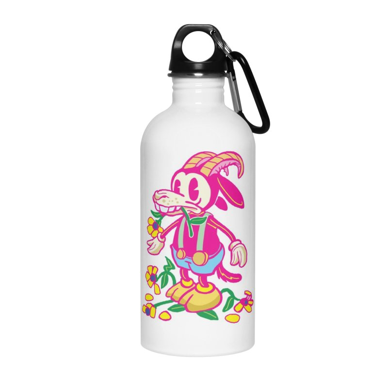 Goat and Flowers Accessories Water Bottle by My Metal Hand Artist Shop