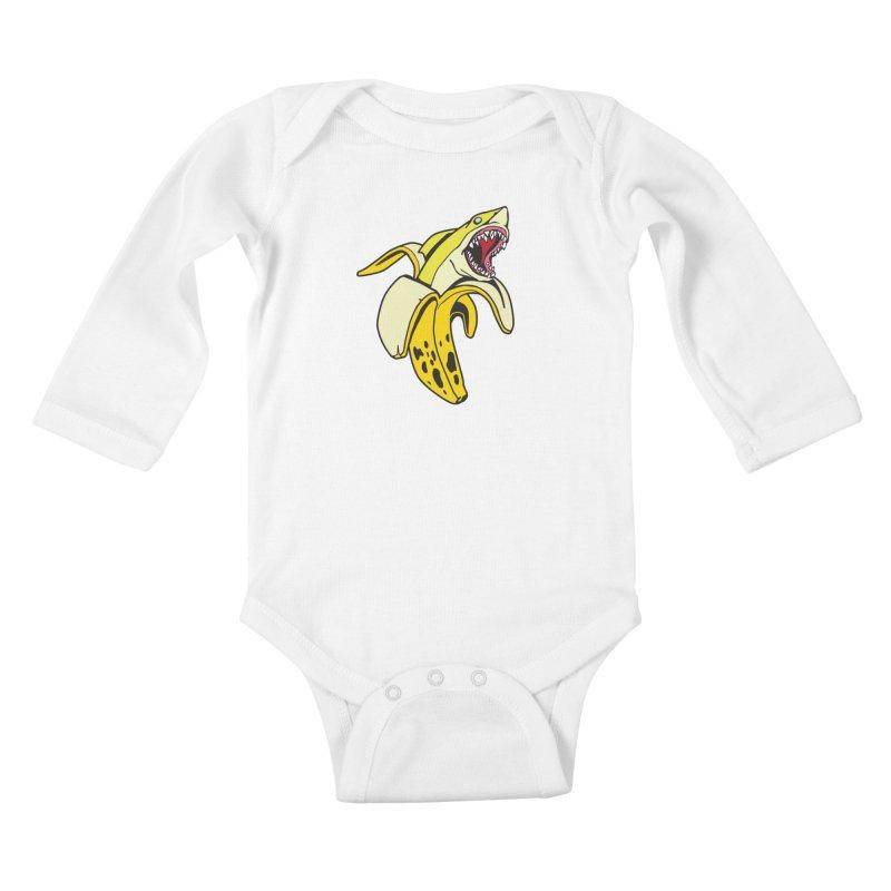 Banana Shark 1 Kids Baby Longsleeve Bodysuit by My Metal Hand Artist Shop