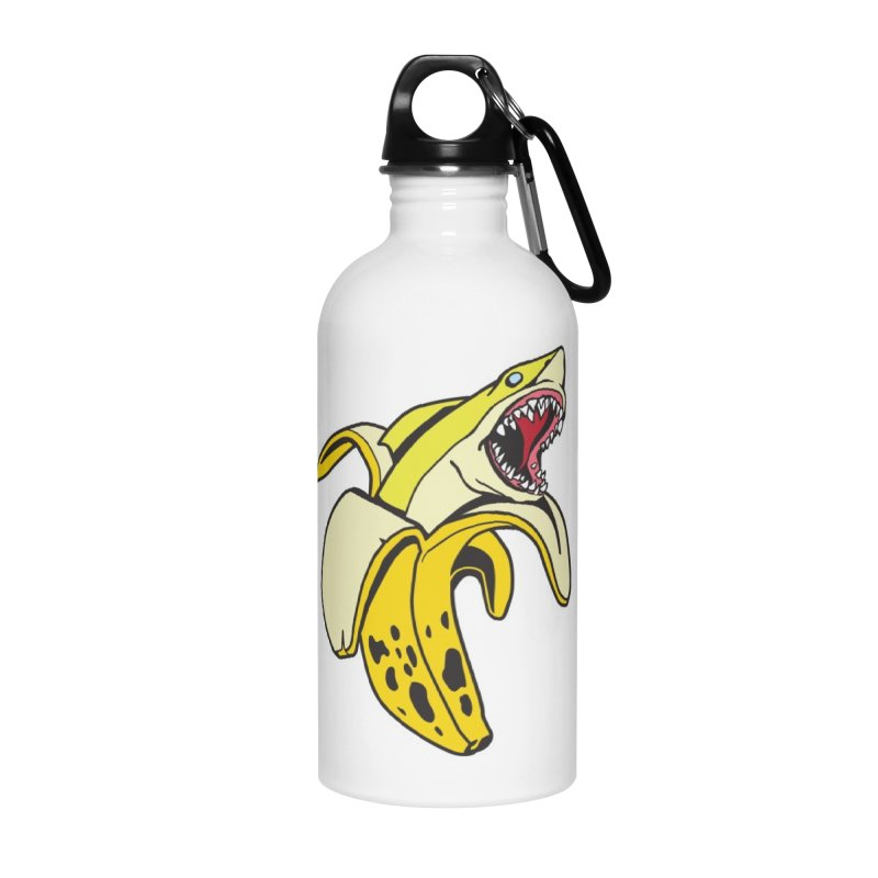 Banana Shark 1 Accessories Water Bottle by My Metal Hand Artist Shop