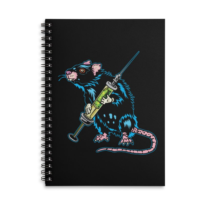 Syringe Rat Accessories Lined Spiral Notebook by My Metal Hand Artist Shop