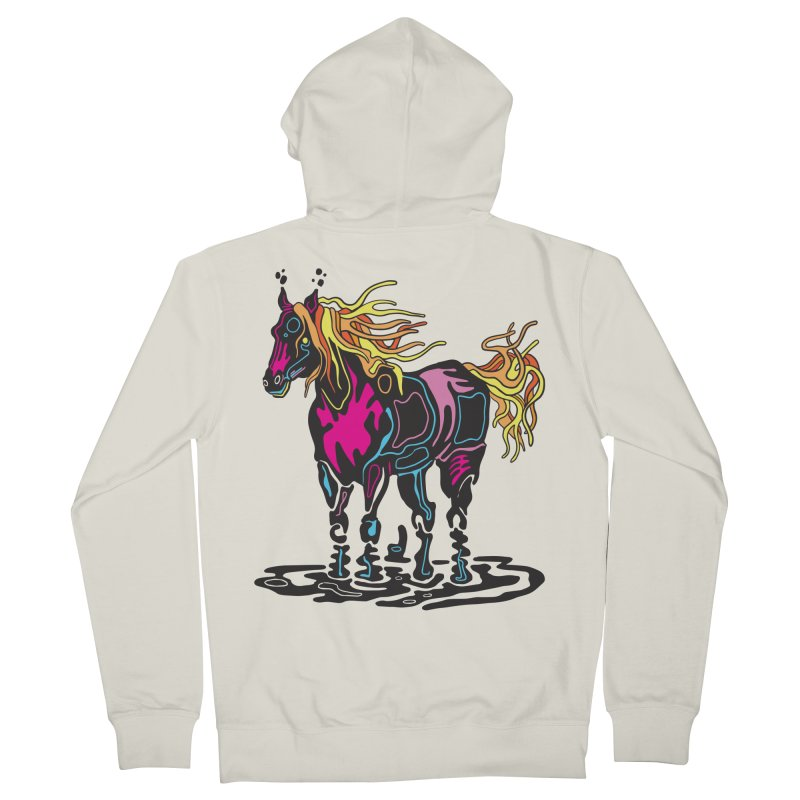 Pooka Horse Men's French Terry Zip-Up Hoody by My Metal Hand Artist Shop