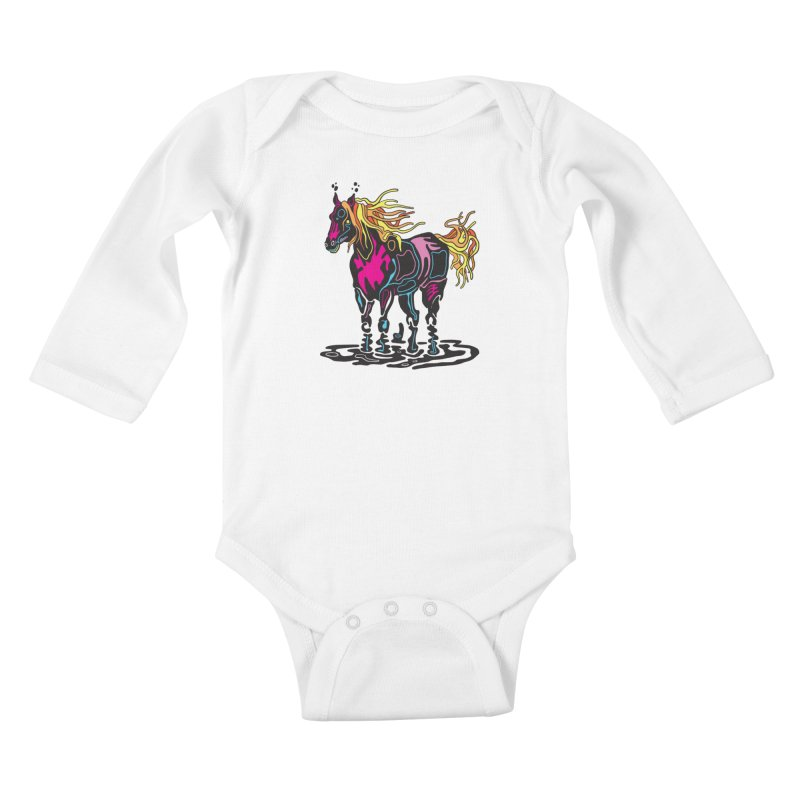 Pooka Horse Kids Baby Longsleeve Bodysuit by My Metal Hand Artist Shop