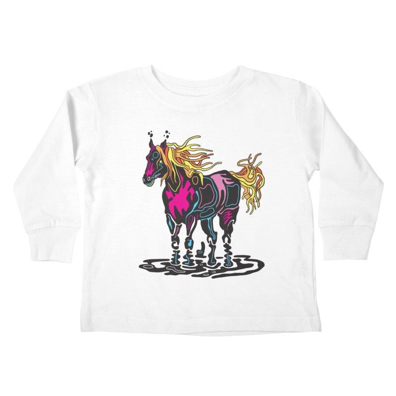 Pooka Horse Kids Toddler Longsleeve T-Shirt by My Metal Hand Artist Shop
