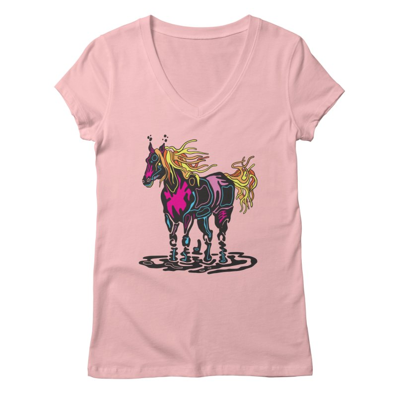 Pooka Horse Women's Regular V-Neck by My Metal Hand Artist Shop