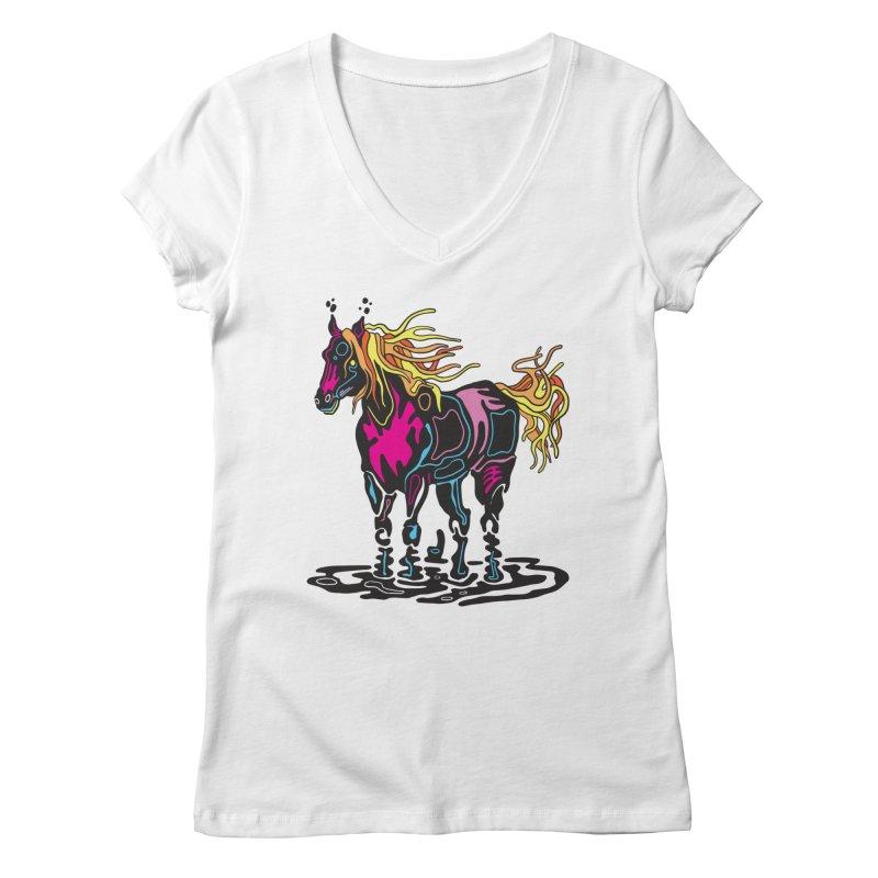 Pooka Horse Women's Regular V-Neck by My Metal Hand Artist Shop