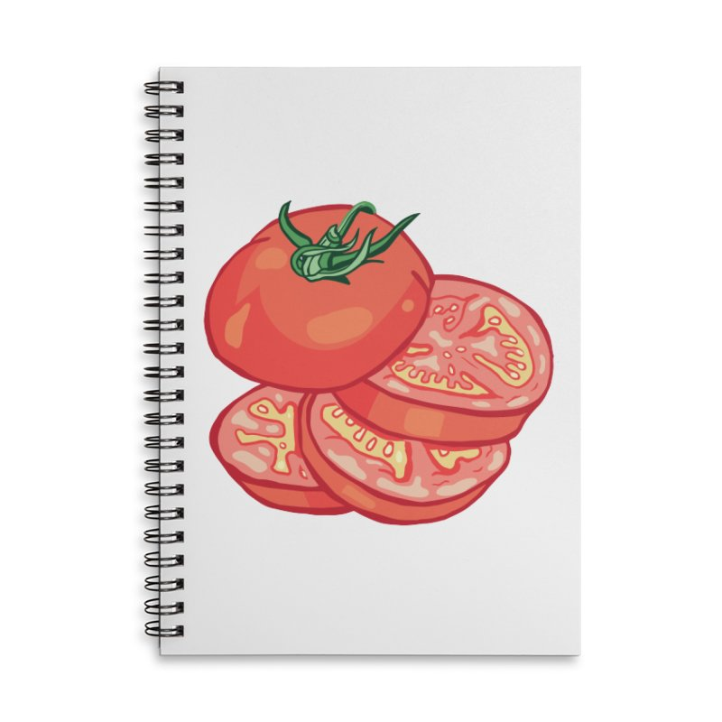 Sliced Homegrown Tomato Accessories Lined Spiral Notebook by My Metal Hand Artist Shop