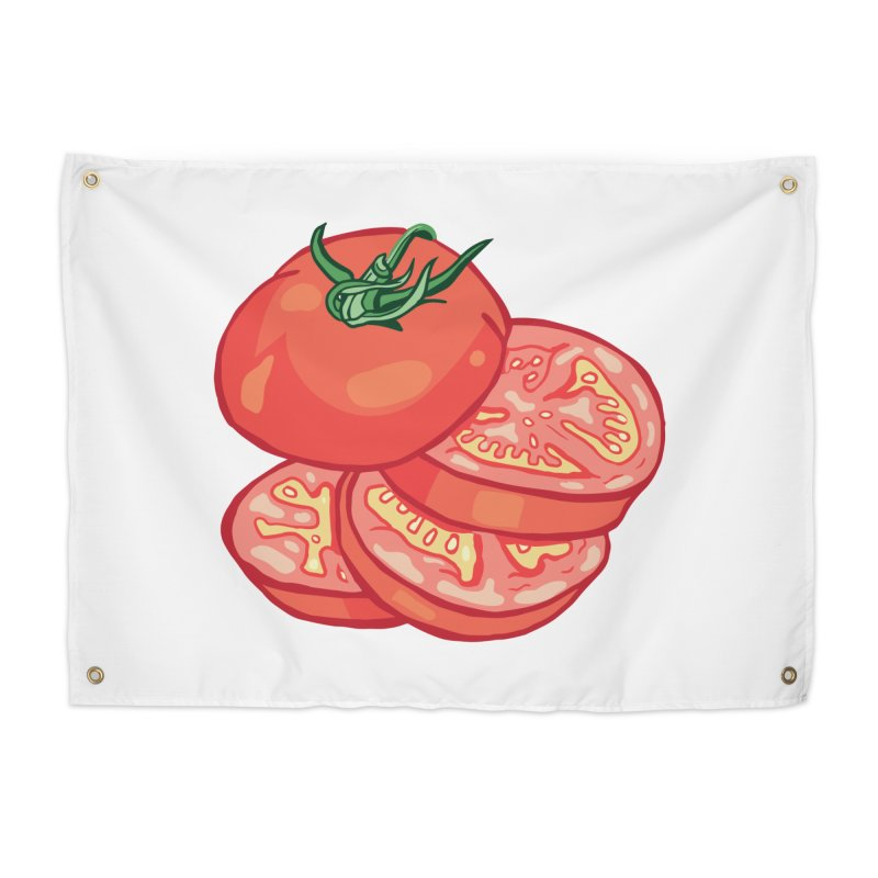 Sliced Homegrown Tomato Home Tapestry by My Metal Hand Artist Shop
