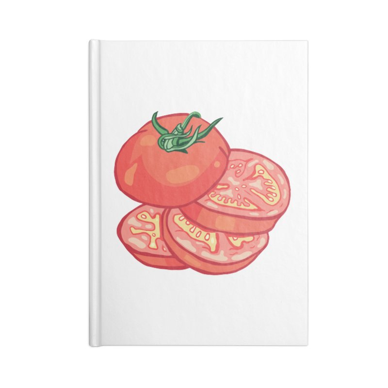 Sliced Homegrown Tomato Accessories Blank Journal Notebook by My Metal Hand Artist Shop