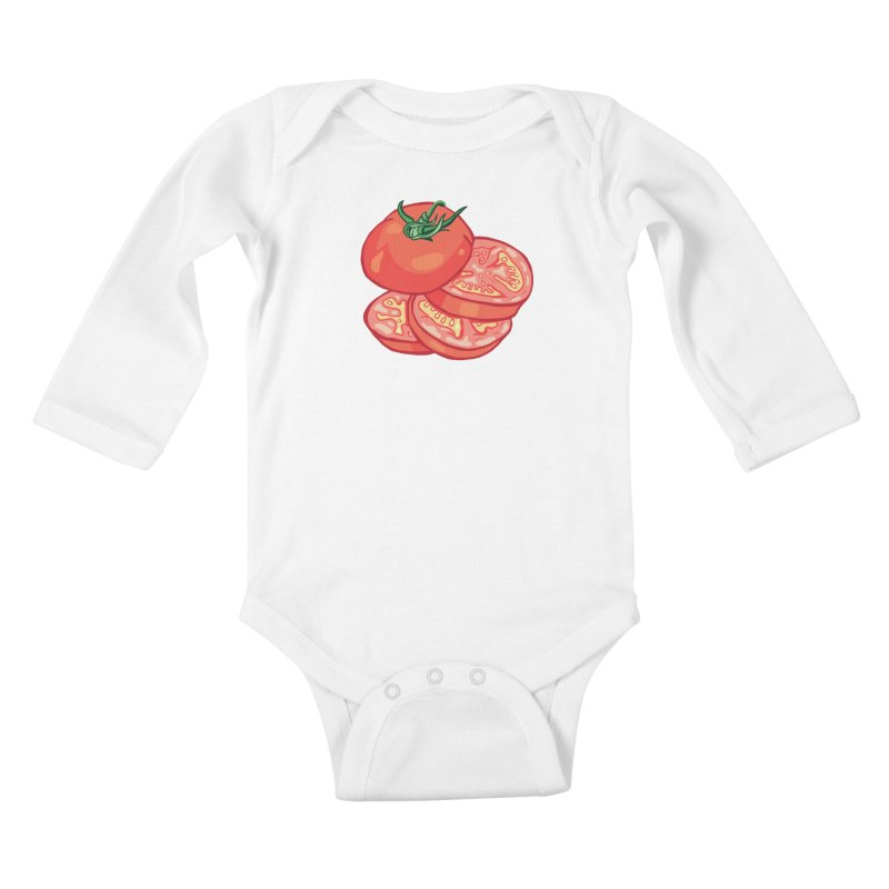 Sliced Homegrown Tomato Kids Baby Longsleeve Bodysuit by My Metal Hand Artist Shop
