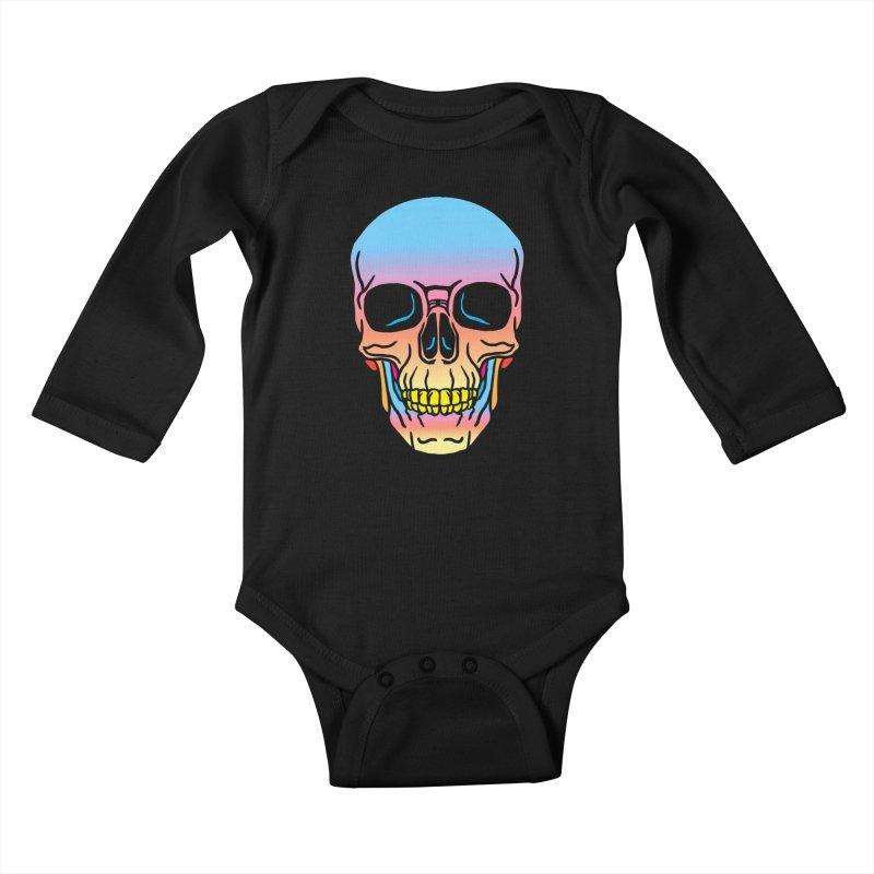 Spectrum Skull Kids Baby Longsleeve Bodysuit by My Metal Hand Artist Shop