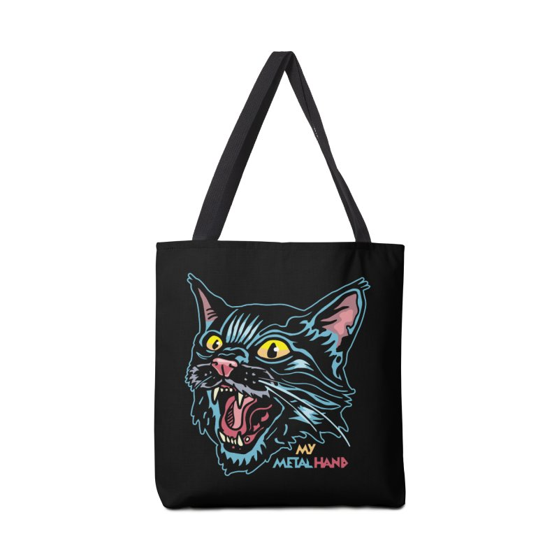 Angry Cat MMH Accessories Tote Bag Bag by My Metal Hand Artist Shop