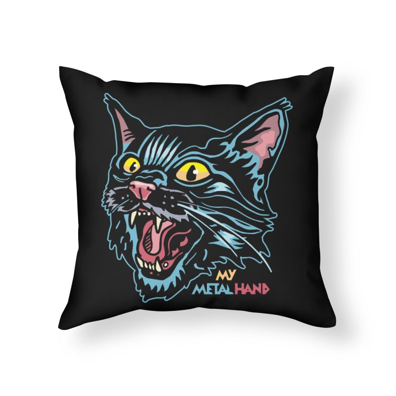 Angry Cat MMH Home Throw Pillow by My Metal Hand Artist Shop