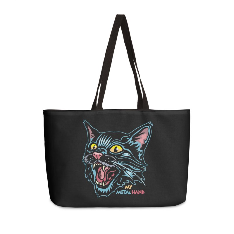 Angry Cat MMH Accessories Weekender Bag Bag by My Metal Hand Artist Shop