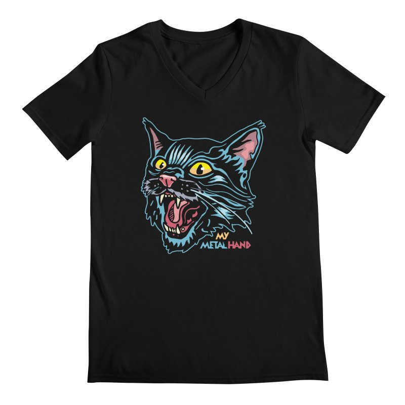 Angry Cat MMH Men's Regular V-Neck by My Metal Hand Artist Shop