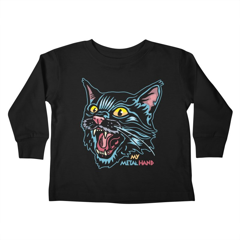 Angry Cat MMH Kids Toddler Longsleeve T-Shirt by My Metal Hand Artist Shop