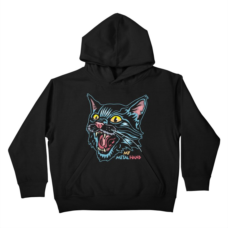 Angry Cat MMH Kids Pullover Hoody by My Metal Hand Artist Shop